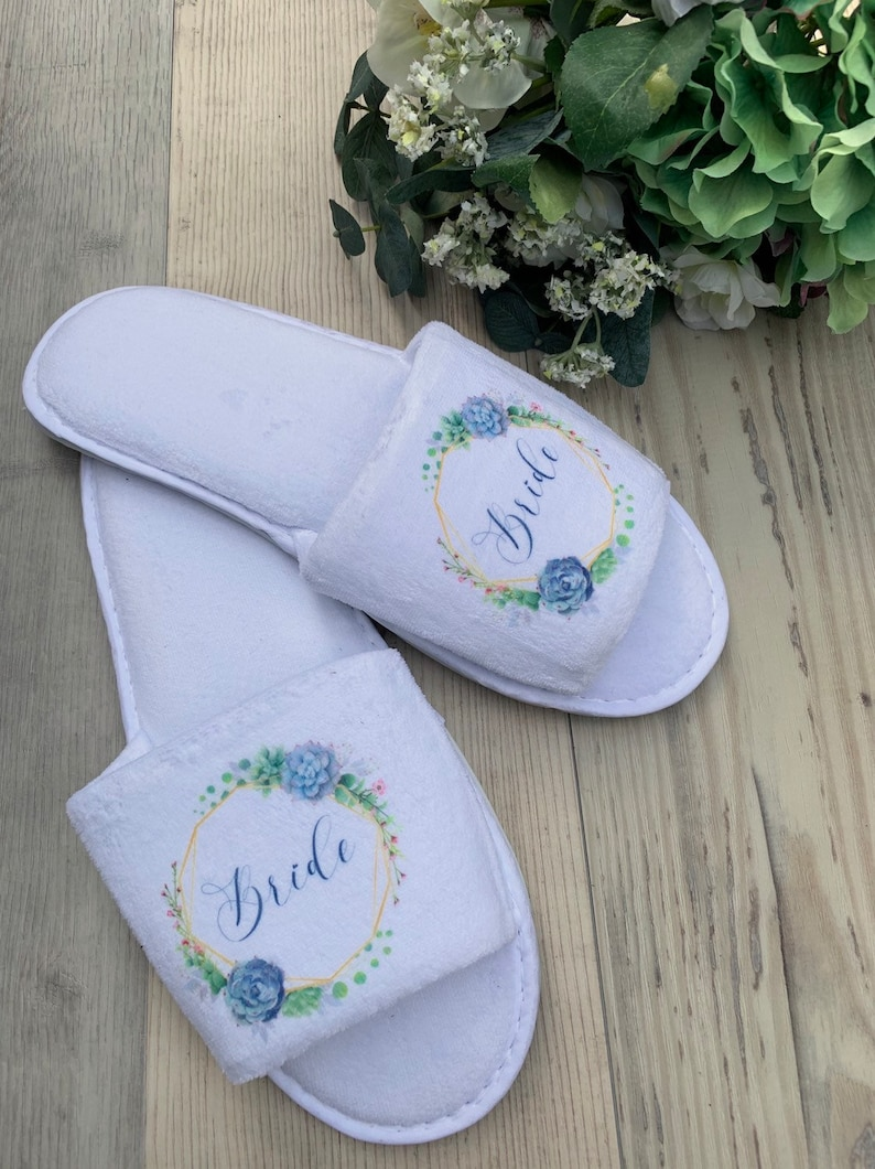 85d82f65baf5a IRIS range personalised printed floral wedding slippers, bridal slippers  deluxe velour open toe slippers bridesmaid gift, hen slippers