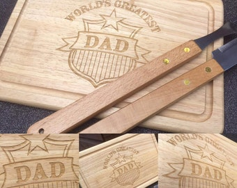 World's Greatest Dad chopping board personalised with a messsge from you - Father's Day