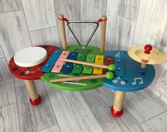 Music table deluxe personalised with message of your choice - Christening gift - Birthday gift - xylophone - children's music set