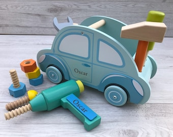Personalised car shaped tool set - wooden toy tool kit - gift for him - gift for her