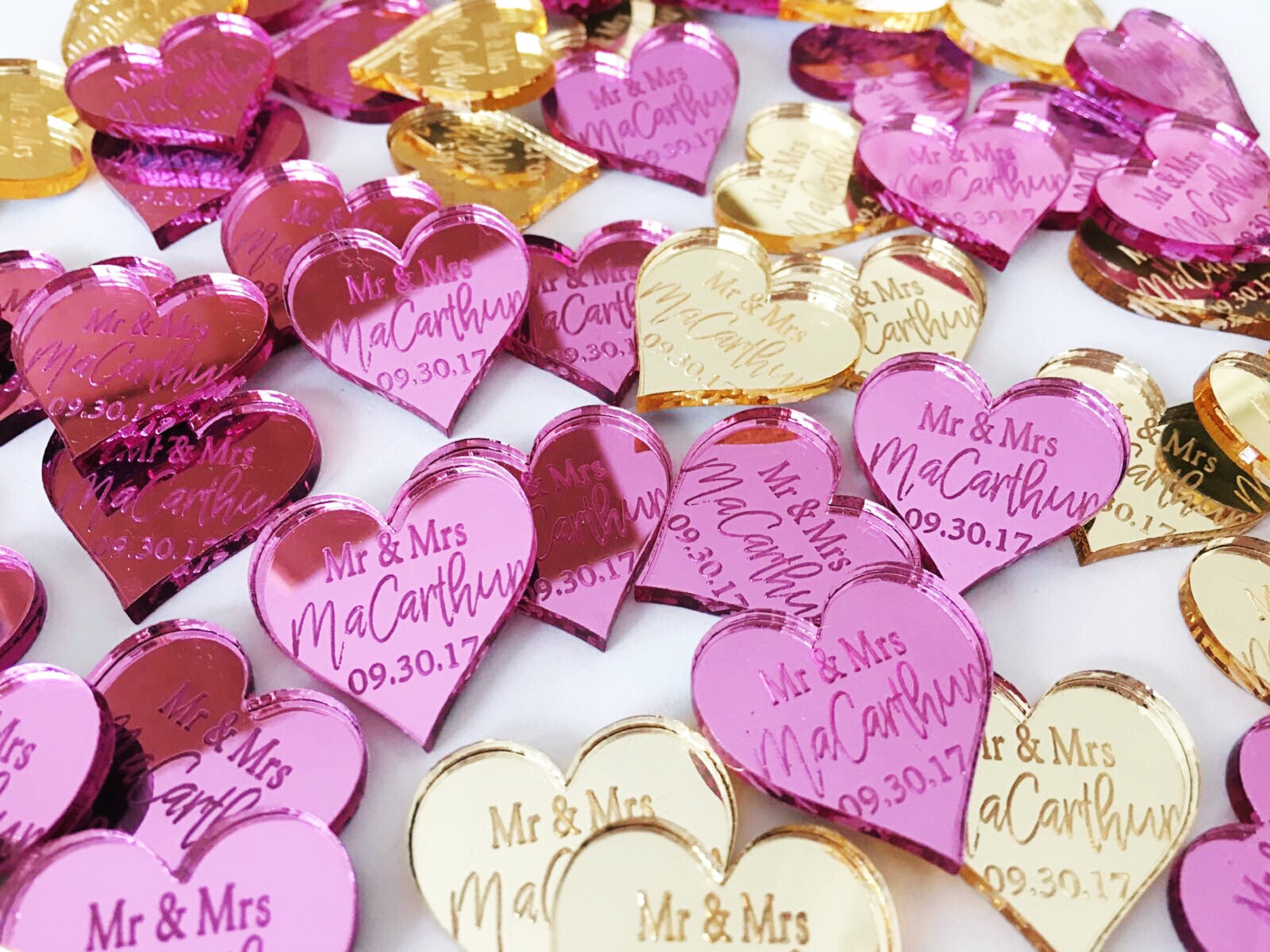 Personalised wedding acrylic heart favours engraved