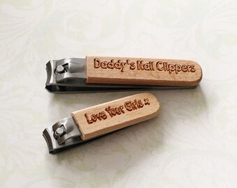 Personalised wooden engraved nail clippers - gift for him - gift for her - Father's Day