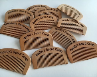 Personalised beard combs engraved with any name - Daddys beard comb - Grandads beard comb - wooden beard comb