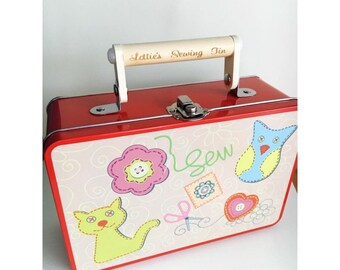 Personalised Sewing Tin, sewing kit, christmas gift for her/him, engraved craft set, children's sewing set