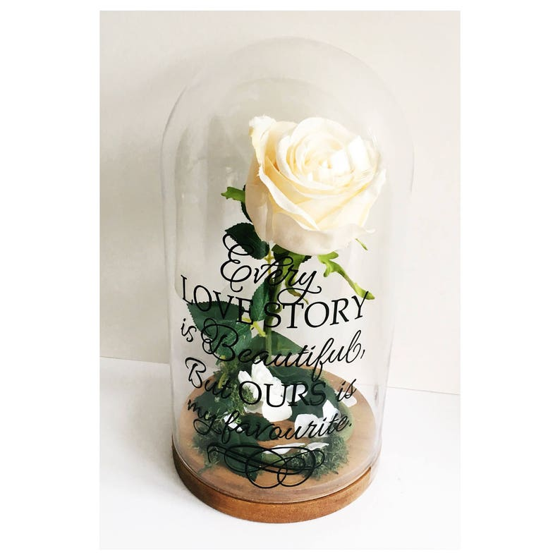 wedding gift gift for her anniversary gift Every love story is beautiful but ours is my favourite rose glass dome
