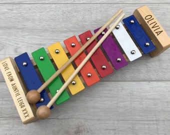 Personalised engraved xylophone musical instrument childrens toy