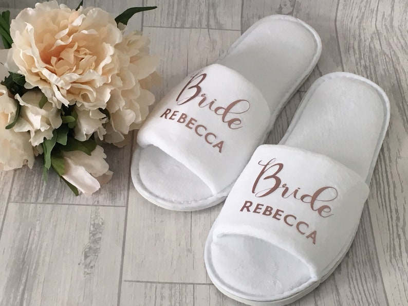 29c004a8ac8eed Personalised wedding slippers bridal slippers deluxe velour