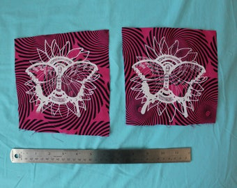 Silkscreened Butterfly Patch - White on Pink