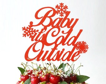 Baby It's Cold Outside Cake Topper, Winter Cake Topper, Christmas Gender Reveal Party, Baby its Cold Outside, Christmas Cake Topper
