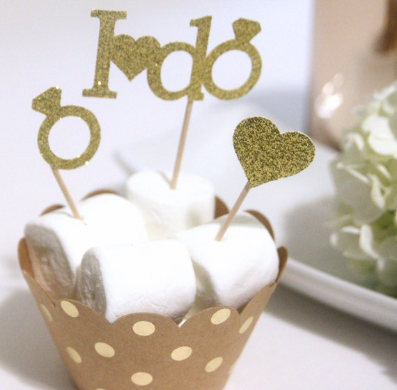 Bridal Shower Cupcake Toppers Valentine S Day Wedding Etsy