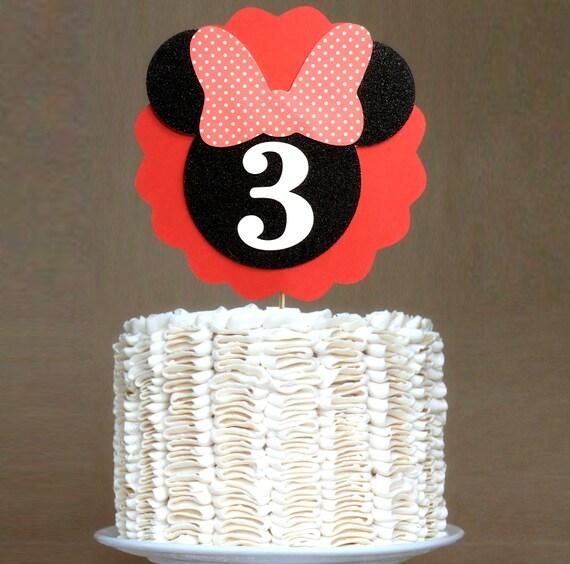 Minnie Cake Topper Red And Black Minnie Birthday Cake Topper Etsy