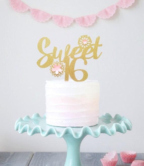 Sweet Sixteen Cake Topper Gold Sweet 16 Cake Topper Girls