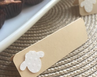 Lamb Folded Tags, Baby Lamb, Birthday and Shower Decorations, Lamb Baby Shower, Lamb Baptism, Lamb Tags, Name Tags (Set of 12)