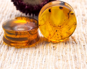 """Natural Mexican Amber Ear Plugs, Size 1"""" 25mm 15.2g"""