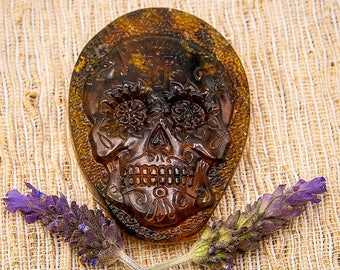 Mexican Amber Calavera Carving Pendant