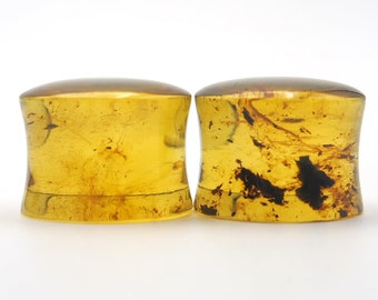 Natural Mexican Amber Ear Plugs 15mm Saddle