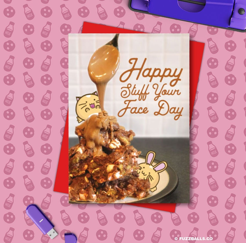Happy Stuff Your Face Day Card Birthday Greeting Cats Cute