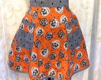 Halloween Jack-o-Lantern Apron, Pumpkins, Grey, Orange, Witches