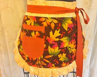 Reversible Fall Halloween Apron, Half Apron, Pumpkin Apron, Orange, Brown, Leaves