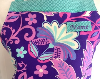 Utility/vendor Apron, Personalized Apron, Floral Apron, Purple, Turquoise, Pink