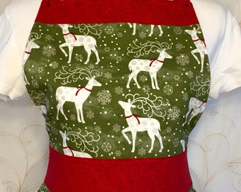 Reindeer Christmas Apron, Women's Full Apron, Green, Red, Snowflakes,