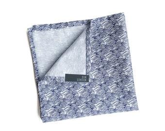 Umi Blue Wave Pocket Square, Men's Hand-Rolled Handkerchief