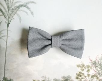 Callum Grey Crosshatch Cotton Bow Tie, Men's Pre-Tied Bow Tie