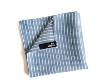 Benjamin Blue and White Striped Linen Pocket Square, Men's Hand-Rolled Handkerchief