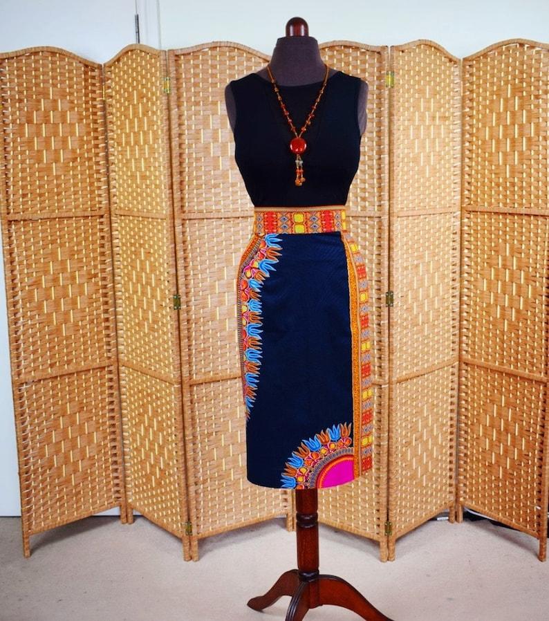 Ready to ship. Dashiki Pencil Skirt Black Angelina Ankara Pencil Skirt African Wax Short Skirt \u2013 One of a kind