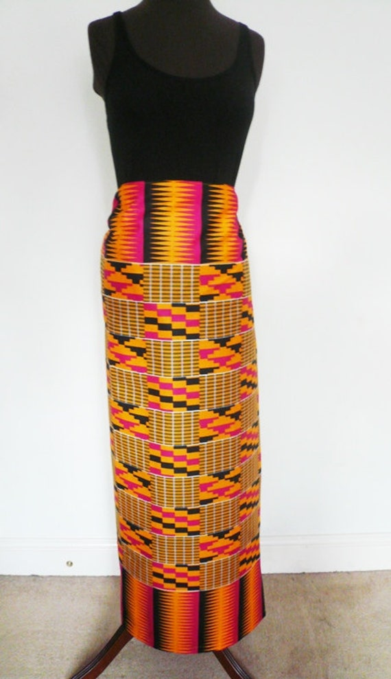 b36e27ff6 Orange and Fuchsia Kente Print Ankara Lapa Ankara Wrap Skirt | Etsy