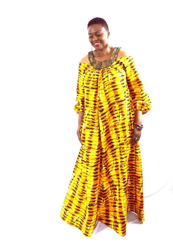 82dab2a6d68 Orange and Black Cold Shoulder Batik Dress African Wax Maxi