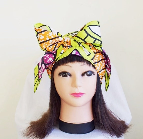 Green and Brown Arrow Ankara Jiffy Head Wrap African Wax Headtie Stylish Hair Accessory