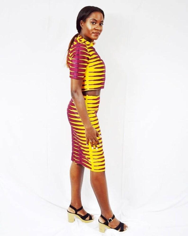 African Wax Short Skirt \u2013 Ready to ship Tangerine Pulse Design Pencil Skirt and Cropped Top Ankara Pencil Skirt