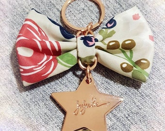 Rosy Posy bow with jujube rose gold OOAKPL premium keychain