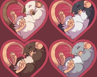 Heart Rats Vinyl Sticker || 2.5 inch Rodent Cute Animals Pets Pet Love Remembrance Memorial Hooded Seal Point Roan Colors Variety Coloration