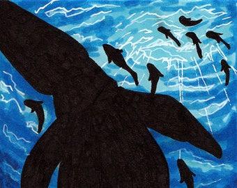 "Original ACEO ""Ocean Mosasaur"" - Art, Card, ATC, OOAK, Traditional, Handmade, Pliosaur, Marker, Fish, Sea, Blue, Water, Reptile"