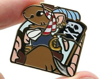 PiRATe Pin || Pun Rats Hard Enamel Funny Cute Pets Fancy Gold Metal Lapel Mouse Mice Rodent Shiprat Animal Sea Ship Captain Metallic Small