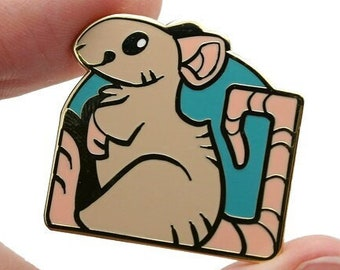 Pet Rat Pin || Pun Rats Hard Enamel Funny Cute Pets Fancy Gold Metal Lapel Accessory Jewelry Mouse Mice Rodent Animal Small Square
