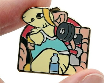 Gym Rat Pin || Pun Rats Hard Enamel Funny Cute Pets Gold Metal Lapel Mouse Mice Rodent Animal Small Motivation Fitness Workout Exercise