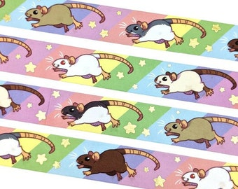 Rainbow Rats Washi Tape || Crafting Decoration Decorative Rat Rodent Mouse Animal Pride LGBT Pet Cute Gold Foil Stars Gift Scrapbooking Roll
