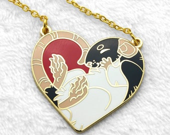 Heart Rat Necklace || Rats Hard Enamel Cute Heartrat Hood Hooded Gold Black White Love Pet Loss Animal Jewelry Memorial Remembrance