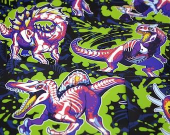 Rad Dinos Glossy 4x6 Art Print - Photo, Raptor, Velociraptor, Carnotaurus, Spinosaurus, Trex, Neon, Colorful, Bones, Skeleton, Pterosaur
