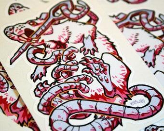 Stitched Rat Vinyl Sticker - 3.5 inch, Labrat, Needle, White, Red, Albino, Stitches, Vivisection, Wound, Halloween, Horror, Gore, Rodent