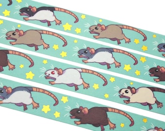 Prancing Rats Washi Tape || Crafting Crafty Decoration Decorative Rat Rodent Mouse Animal Pet Cute Gold Foil Stars Gift Scrapbooking Roll