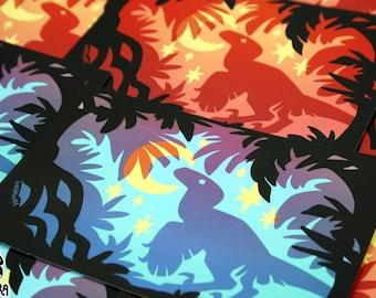 Stargazing Dino Glossy 4x6 Art Print - Photo, Raptor, Velociraptor, Star, Jurassic, Dino, Feathered, Red, Blue, Sky, Moon, Prehistoric