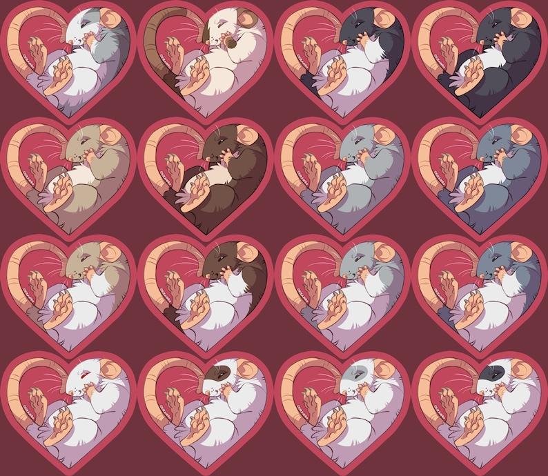 Heart Rats Vinyl Sticker  2.5 inch Rodent Cute Animals Pets image 0