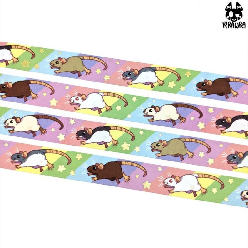 Rainbow Rats Washi Tape  Crafting Decoration Decorative Rat image 0