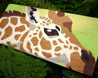 Original Painting on Wood: Giraffe Spots - Handmade, OOAK, Acrylic, Paint, Camelopard, Africa, Plank, Unique, Animal, Artwork