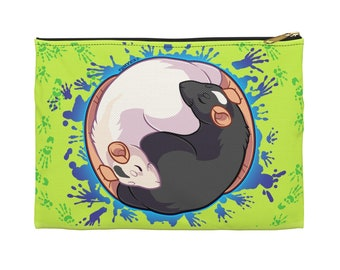 Yin Yang Rats Zipper Pouch - Choose size, Pencil Case, Makeup Bag, Art Supplies Holder, Bag Organizer, Tao, Animals, Cute, Pets, Rat Lover