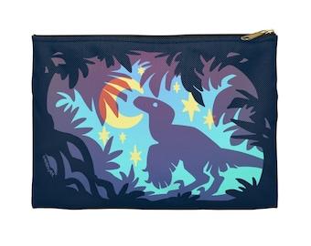 Stargazing Dino (blue) Zipper Pouch - Choose size, Pencil Case, Makeup Bag, Art Supplies Holder, Bag Organizer, Dinosaur, Velociraptor, Star